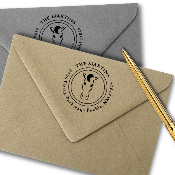Curly Mane Horse Head Address Stamp Imprint Example