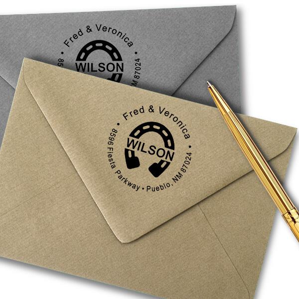 Horseshoe Last Name Address Stamp Imprint Example