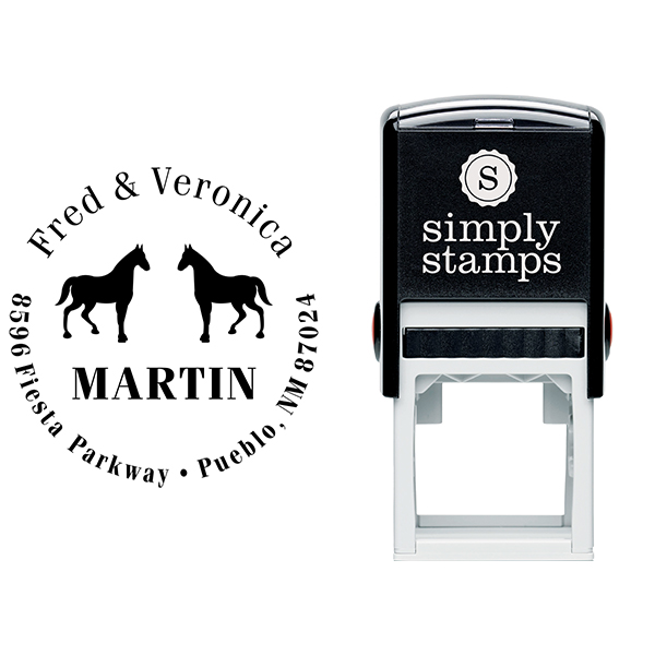 Double Horse Last Name Address Stamp Body and Design