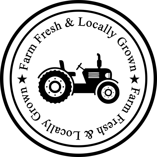 Farm Fresh and Locally Grown Rubber Stamp Imprint Example
