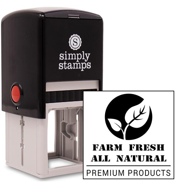 Farm Fresh All Natural Square Rubber Stamp