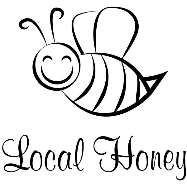 Local Honey Cutsie Bee Rubber Stamp Imprint Example