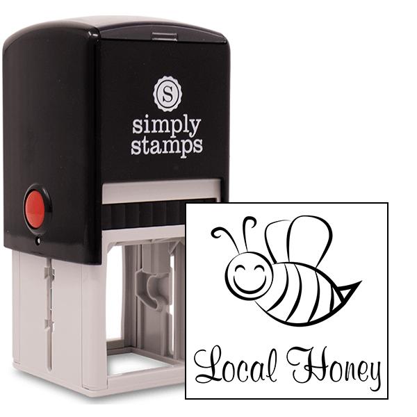 Local Honey Cutsie Bee Rubber Stamp