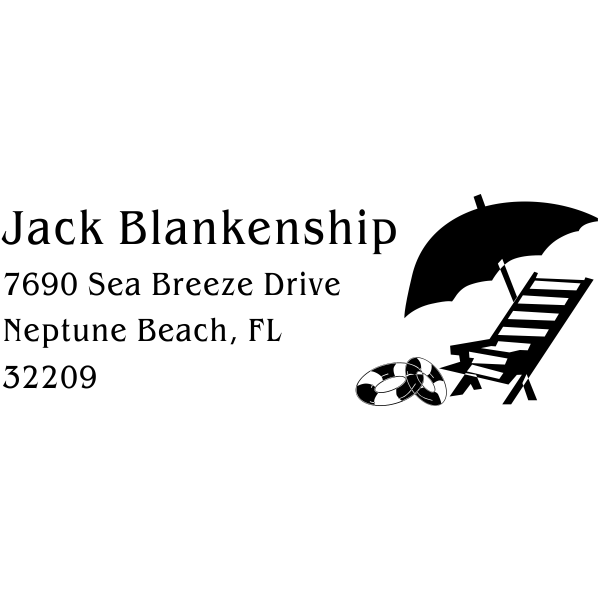 Beach Chair Umbrella Return Address Stamp