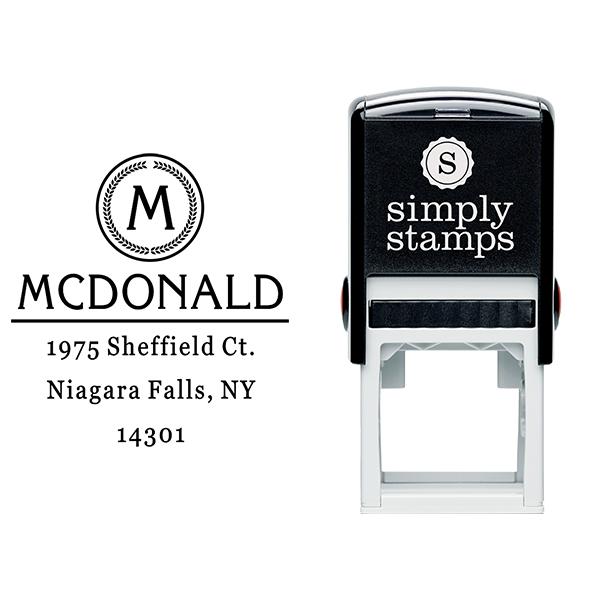 McDonald Monogram Return Address Stamp Body and Design
