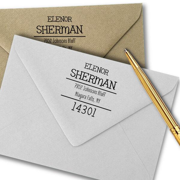 Sherman Whimsy Return Address Stamp Imprint Example