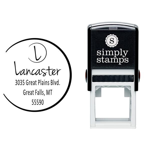Lancaster Monogram Open Circle Address Stamp Body and Design