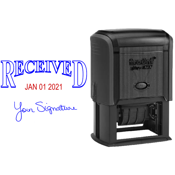 Received Signature Date Rubber Stamp - Date Bottom Body and Design