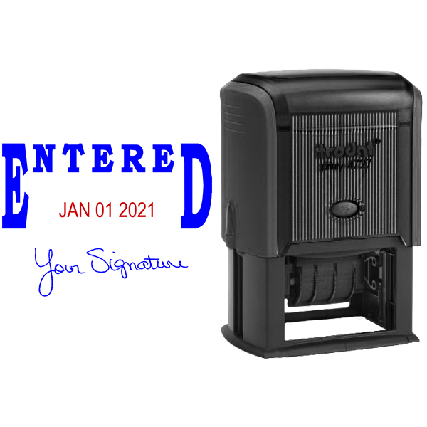 Entered Signature Date Rubber Stamp Body and Design