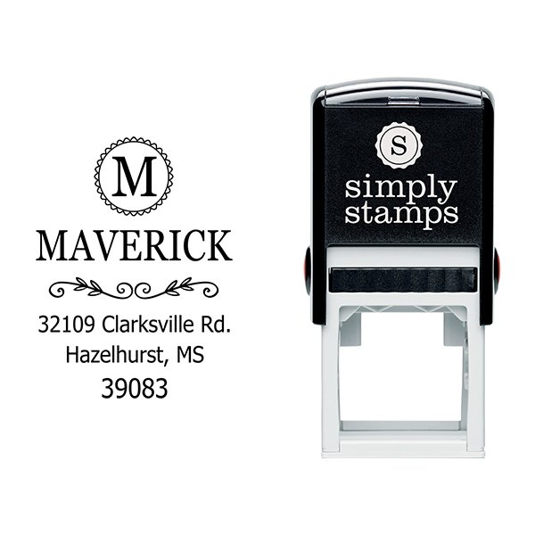 Maverick Monogram Address Stamp Body and Design