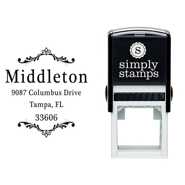Middleton Vintage Deco Address Stamp Body and Design