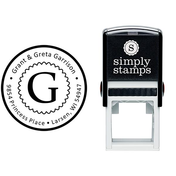 Garrison Solid Circle Border Address Stamp Body and Design