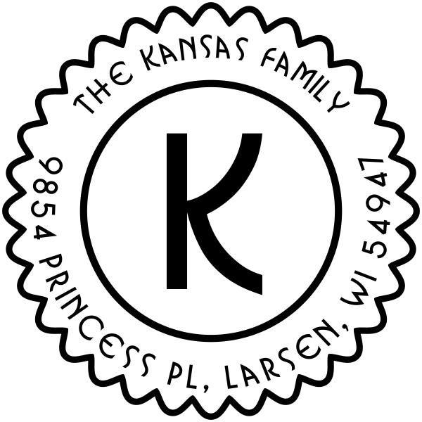 Kansas Round Monogram Address Stamper