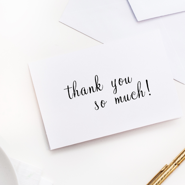 Thank You So Much Handwritten Rubber Stamp Imprint Example