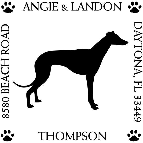 Greyhound Custom Address Stamper Design