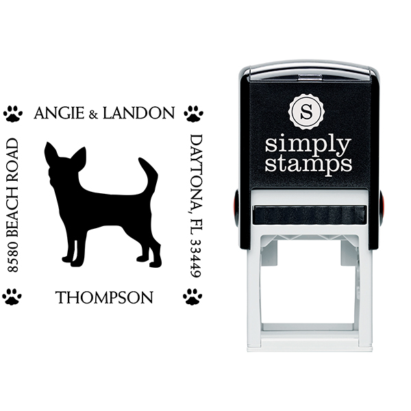 Chihuahua Pet Lover Dog Address Stamp Body and Design