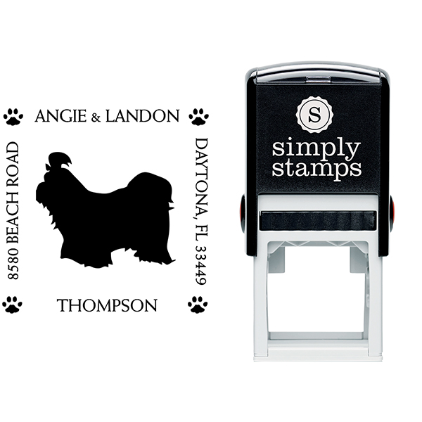 Shih Tzu Pet Lover Dog Address Stamp Body and Design