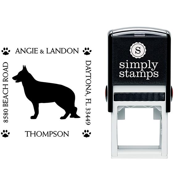 German Shepherd Pet Lover Dog Address Stamp Body and Design