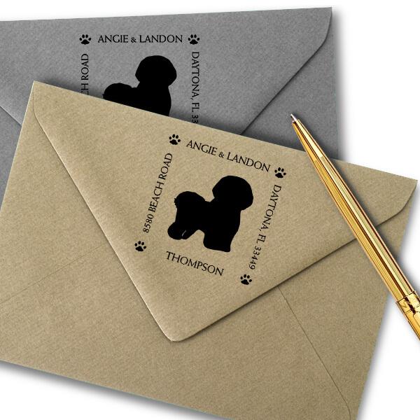 Bichon Frise Pet Lover Dog Address Stamp Imprint Example