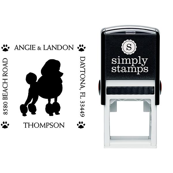 Poodle Pet Lover Dog Address Stamp Body and Design