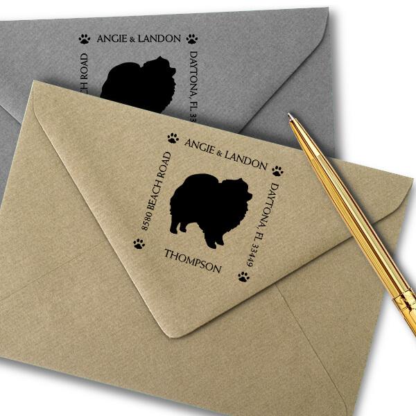 Pomeranian Pet Lover Dog Address Stamp Imprint Example