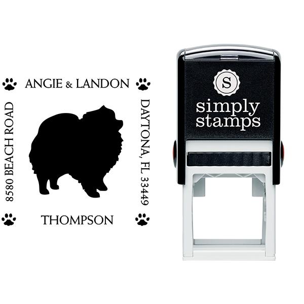 Pomeranian Pet Lover Dog Address Stamp Body and Design