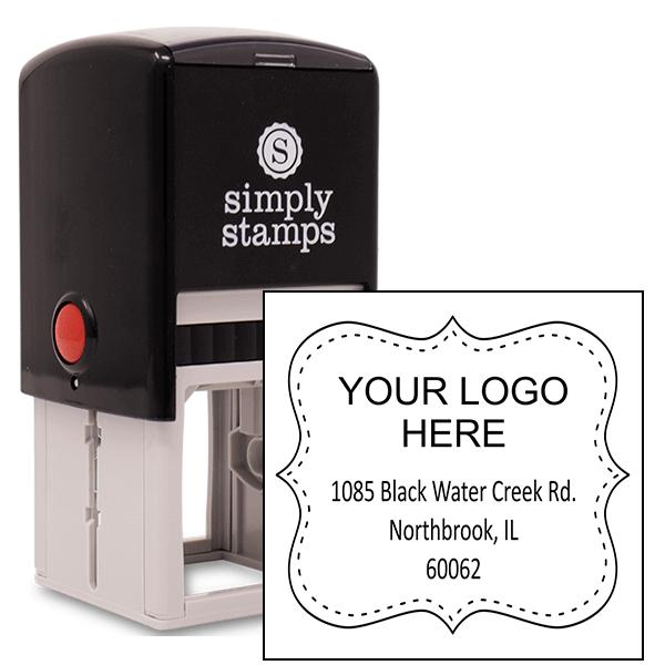 Dotted Border Logo Address Stamp