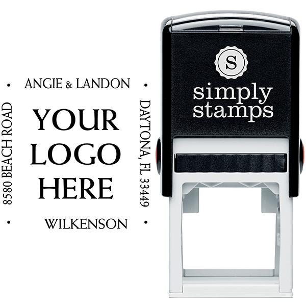 Four Way Square Logo Address Stamp Body and Design