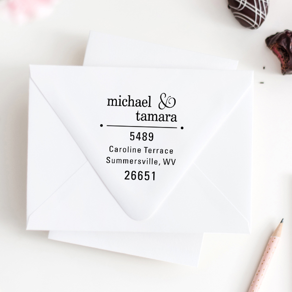 Line Dots Return Address Stamp Imprint Example
