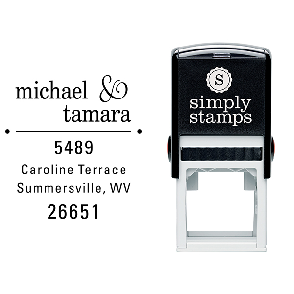 Line Dots Return Address Stamp Body and Design