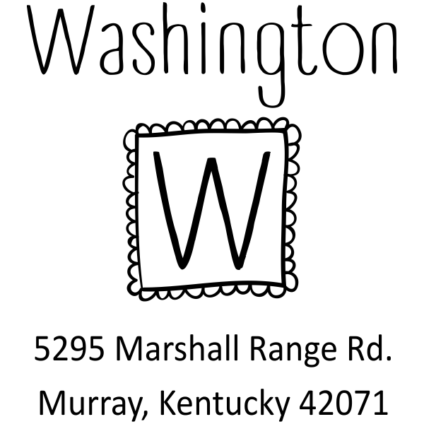 Cute Monogram Custom Return Address Stamper