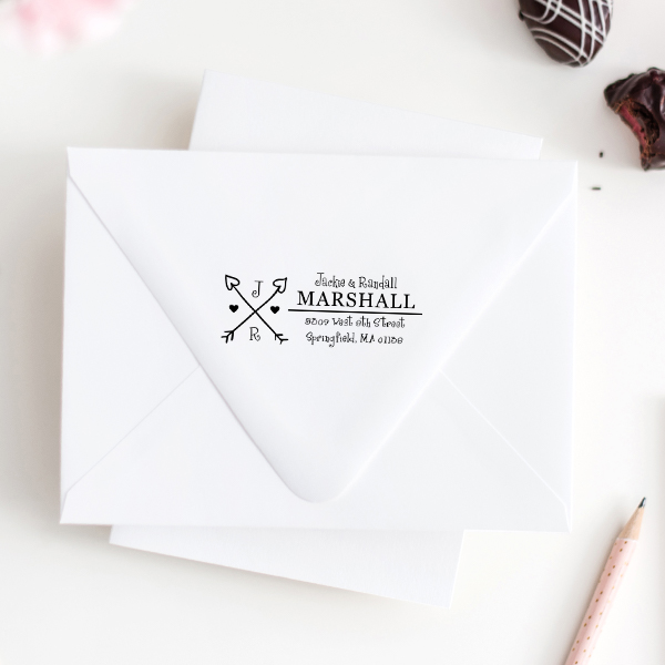 Hearts and Arrows Return Address Stamp Imprint Example