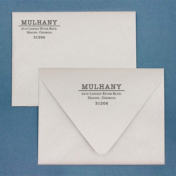 Mulhany Return Address Stamp Imprint Example