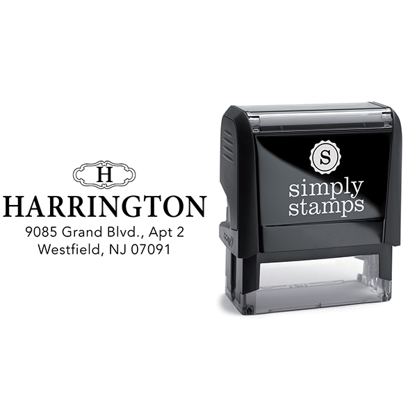 Harrington Monogram Return Address Stamp Body and Design