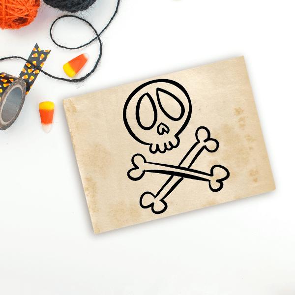 Skull and Crossbones Halloween Craft Rubber Stamp Imprint Example