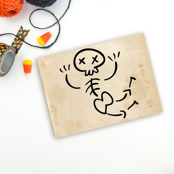 Jazz Hands Bones Halloween Craft Rubber Stamp Imprint Example