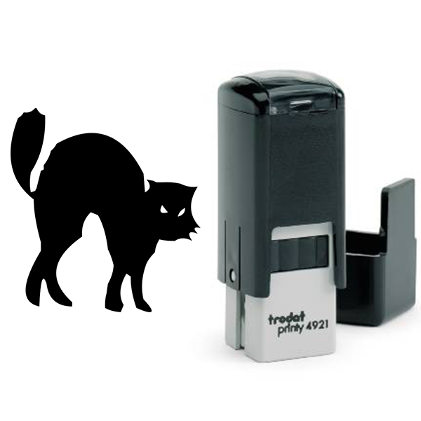 Black Cat Halloween Craft Rubber Stamp Body and Design