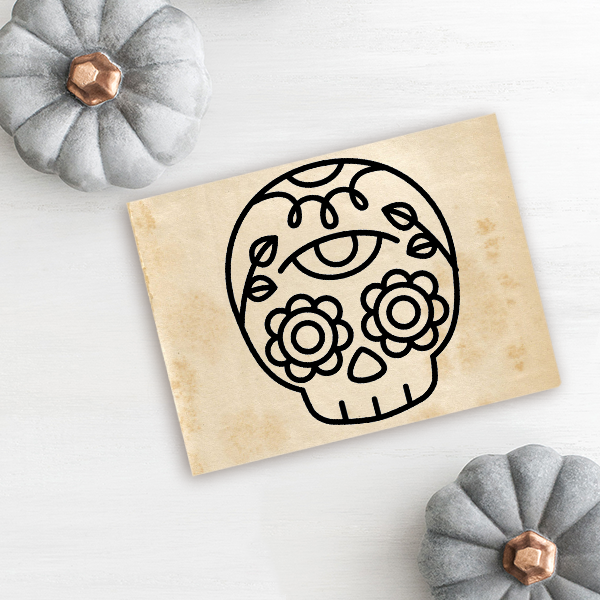 Skull Candy Flower Halloween Craft Rubber Stamp Imprint Example