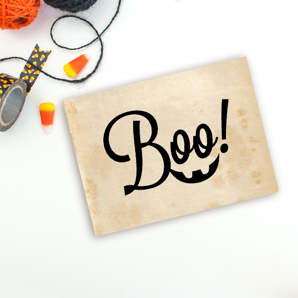 Boo! Smile Halloween Craft Rubber Stamp Imprint Example