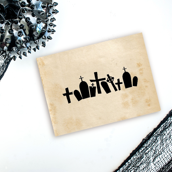 Grave Yard Halloween Craft Rubber Stamp Imprint Example