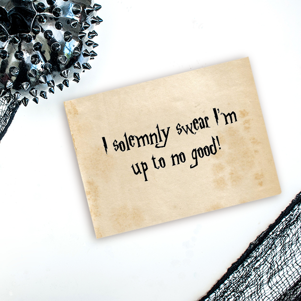 Up to No Good Halloween Craft Rubber Stamp Imprint Example