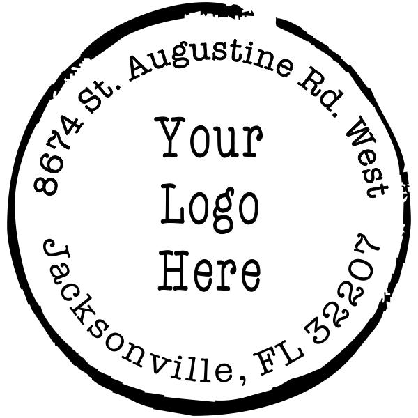 Vintage Ink Circle Round Logo Stamp