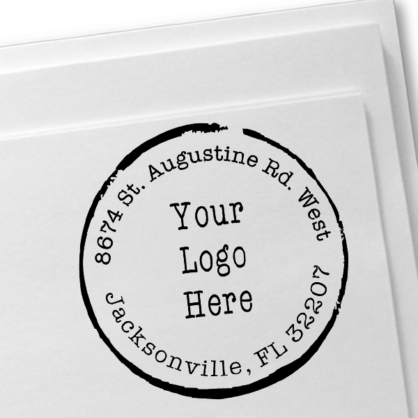 Broken Circle Round Logo Stamp Imprint Example