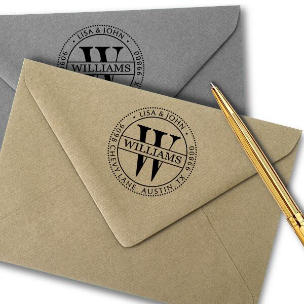 Round Williams Monogram Address Stamp  Imprint Example