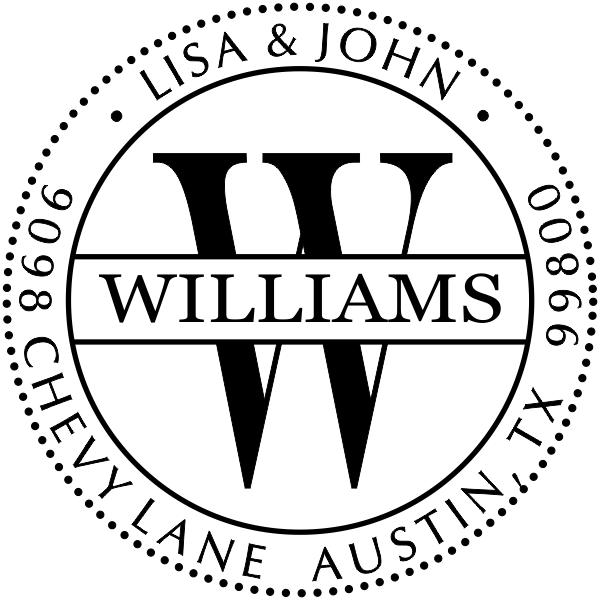 Round Williams Monogram Address Stamp