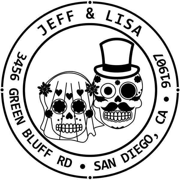 Sugar Skull Bride Groom Round Address Stamp