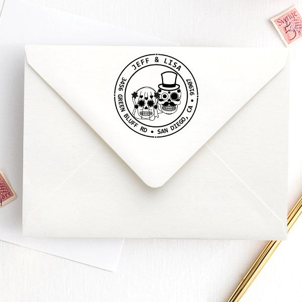 Sugar Skull Bride Groom Round Address Stamp Imprint Example