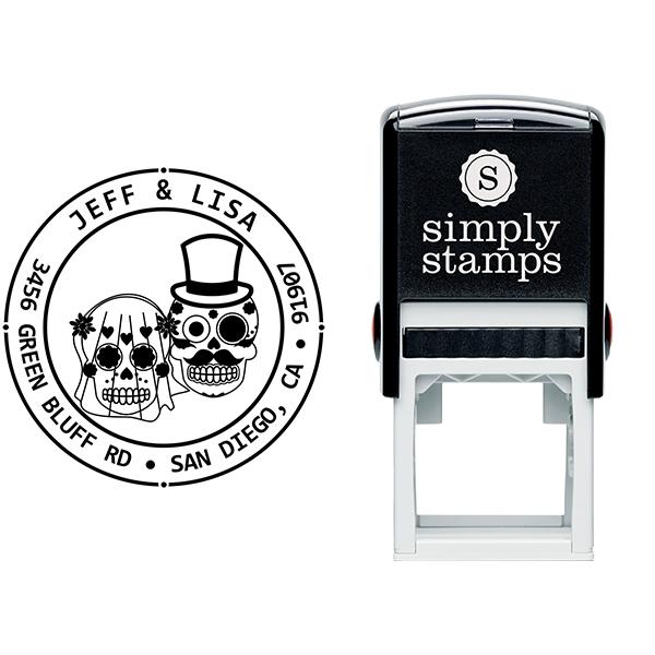 Sugar Skull Bride Groom Round Address Stamp Body and Design