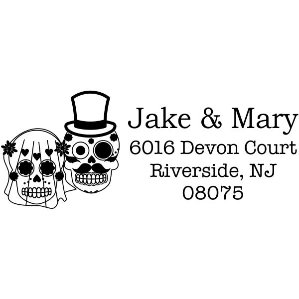 Sugar Skull Bride Groom Newlyweds Address Stamper