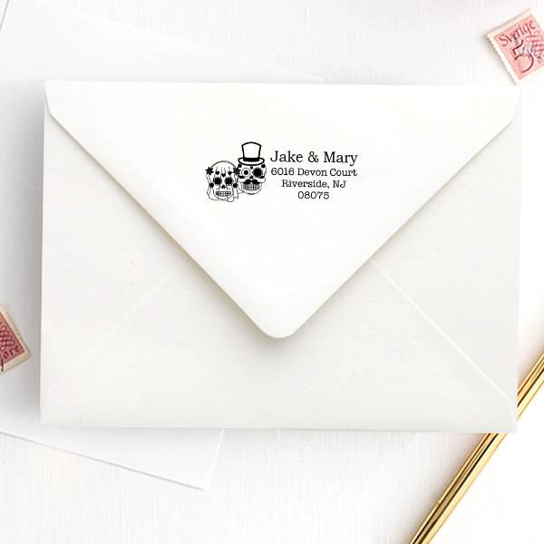Sugar Skull Bride Groom Address Stamp Imprint Example